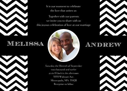 Wedding Invitation with photo - Chevron Wedding