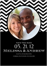 Save the Date Card with photo - chevron wedding