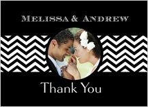 Wedding Thank You Card with photo - chevron wedding