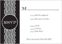 Response Card with menu options - chevron wedding