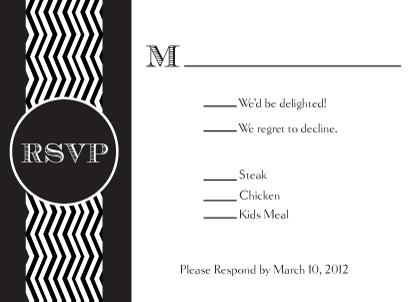 Response Card with menu options - Chevron Wedding