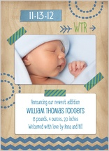 Birth Announcement with photo - baby washi tape