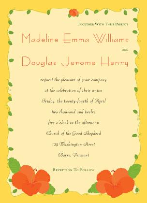 Wedding Invitation - hibiscus