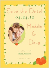 Save the Date Card with photo - hibiscus