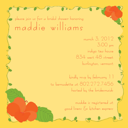 Wedding Shower Invitation - hibiscus