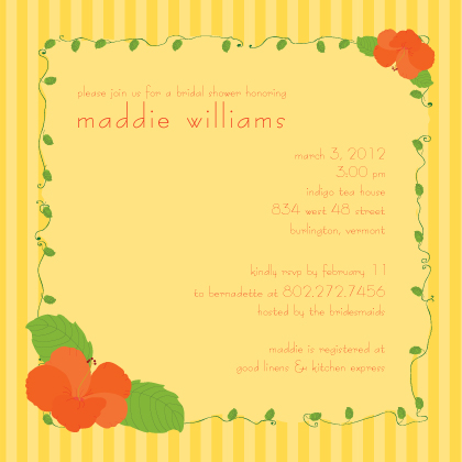 Wedding Shower Invitation - hibiscus