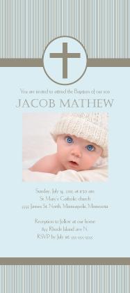 Baptism Invitation - Simple Stripe Baptism with Photo