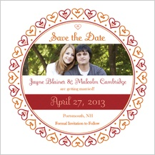 Save the Date Card with photo - hearts