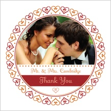 Wedding Thank You Card with photo - hearts