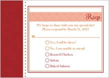 Response Card with menu options - hearts