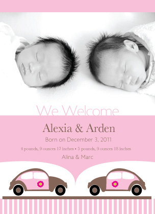 Birth Announcement with photo - Baby Girl Car