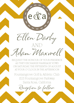 Wedding Invitation - Pretty Chevron Pattern