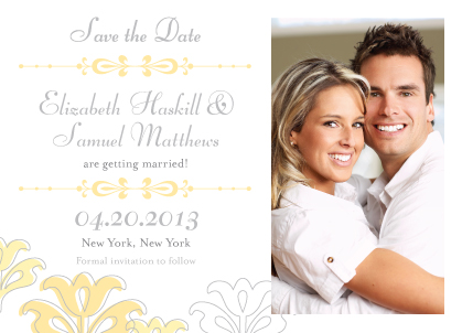 Save the Date Card with photo - Floral Damask