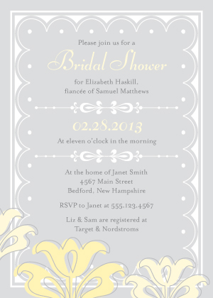 Wedding Shower Invitation - Floral Damask