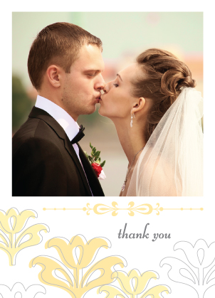 Wedding Thank You Card with photo - Floral Damask