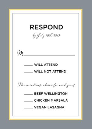 Response Card with menu options - Ikat