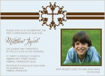 First Communion Invitation - stripe cross first communion with photo