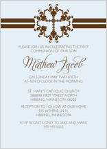 First Communion Invitation - simple stripe first communion