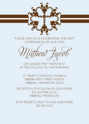 First Communion Invitation - Simple Stripe First Communion
