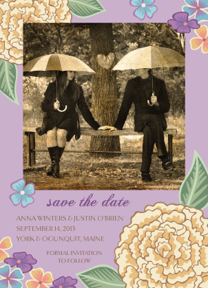 Save the Date Card with photo - Blooming Gold