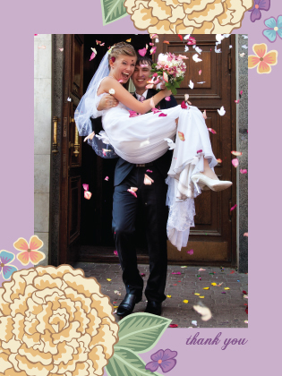 Wedding Thank You Card with photo - Blooming Gold
