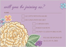 Response Card with menu options - blooming gold