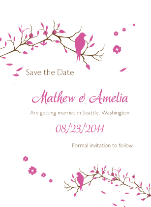 Save the Date Card - Love Birds