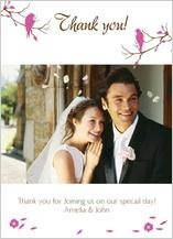 Wedding Thank You Card with photo - love birds
