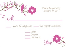 Response Card with menu options - love birds