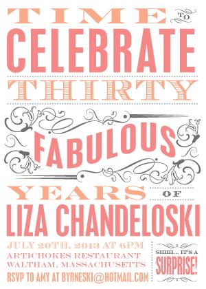 Birthday Party Invitation - Fabulous 30