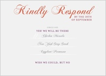 Response Card with menu options - elegant swoops