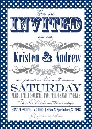 Wedding Invitation - Ditsy Polka Dots