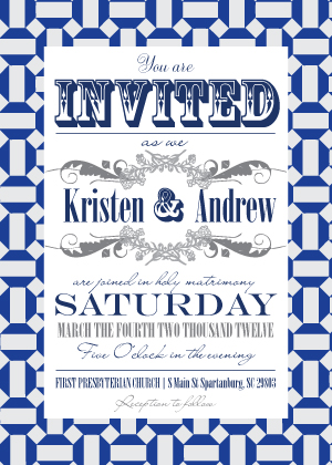 Wedding Invitation - Moroccan Tile Pentagons