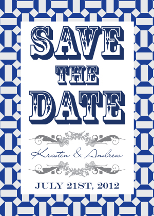 Save the Date Card - Moroccan Tile Pentagons