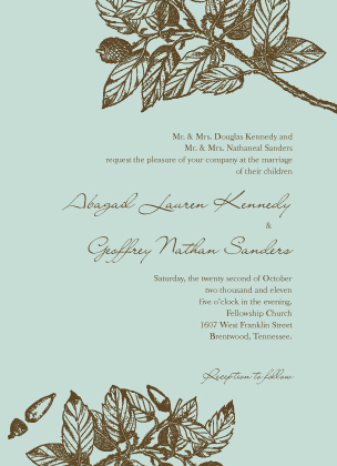 Wedding Invitation - Elegant Acorn