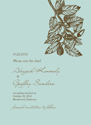 Save the Date Card - Elegant Acorn