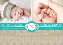 Birth Announcement with photo - modern fern