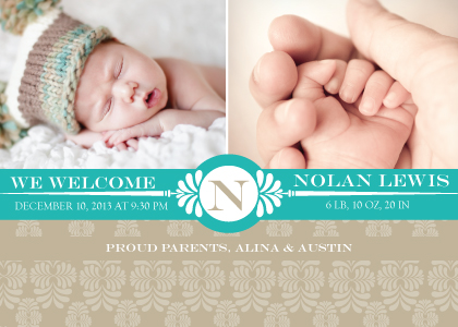 Birth Announcement with photo - Modern Fern
