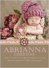 Birth Announcement with photo - baby gril spring bloom
