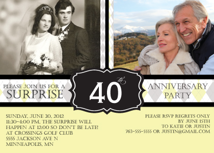 Anniversary Party Invitation - Argyle Anniversary