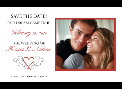 Save the Date Card with photo - Formal Heart