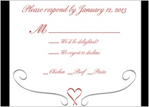 Response Card with menu options - formal heart