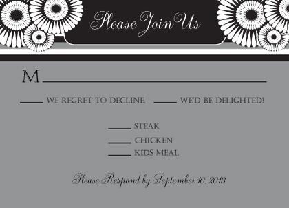 Response Card with menu options - Mum Wedding