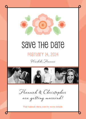 Save the Date Card with photo - Sweet Romance