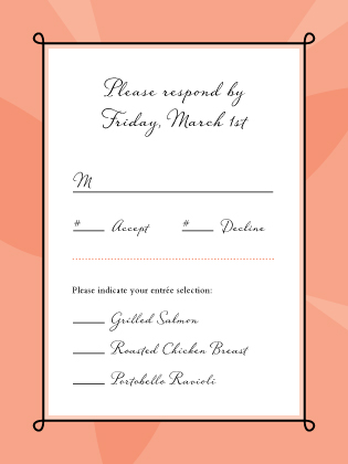 Response Card with menu options - Sweet Romance