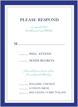 Response Card with menu options - peacock