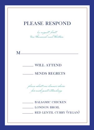 Response Card with menu options - Peacock