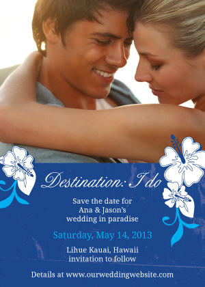 Save the Date Card with photo - Tropical Garden