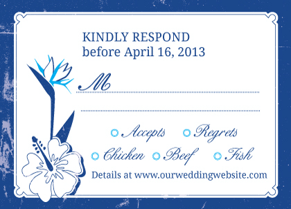 Response Card with menu options - Tropical Garden