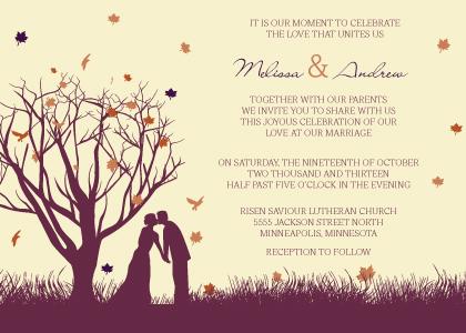 Wedding Invitation - Fall Leaf